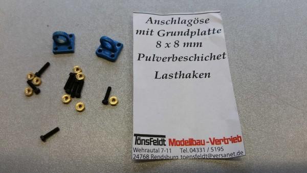 Tönsfeldt 030404 2 TMV Anschlagpunkt Grundplatte 8×8 Öse groß für Lasthaken, blau