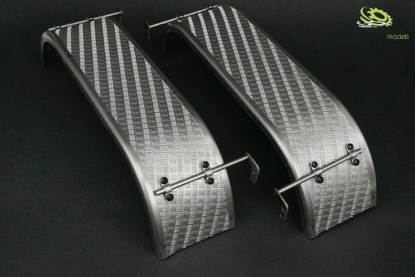 Thicon 50226 1:14 1:14 Double mudguards round made of stainless steel with checker plate