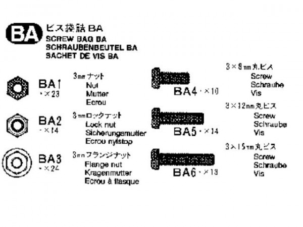 Tamiya 309465534 MB1838 screw bag (Bag BA)