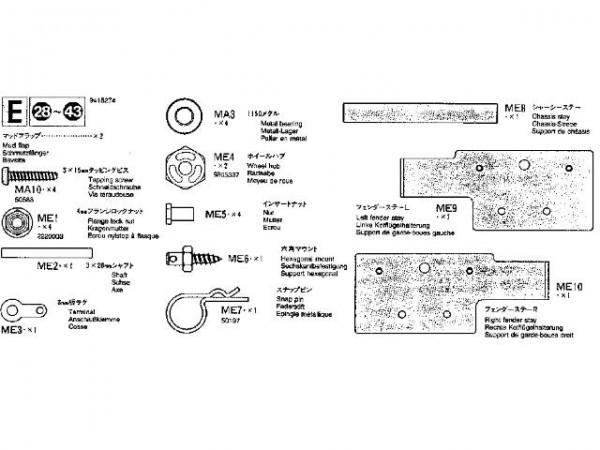 Tamiya 309415274 MB1850L Metallteilebeutel (Bag E)