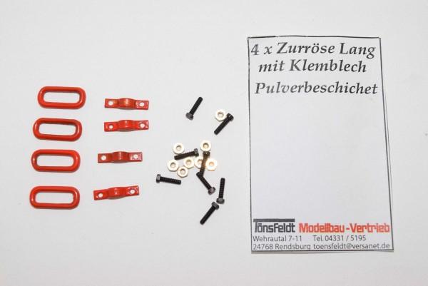 Tönsfeldt 030410 TMV 4 St. Anschlagpunkt Klemmblech mit ovaler Öse lang, Sechskantschrauben, rot