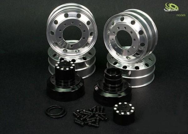 Thicon 60024 1:16 alloy wheels set drive axle hub black pair