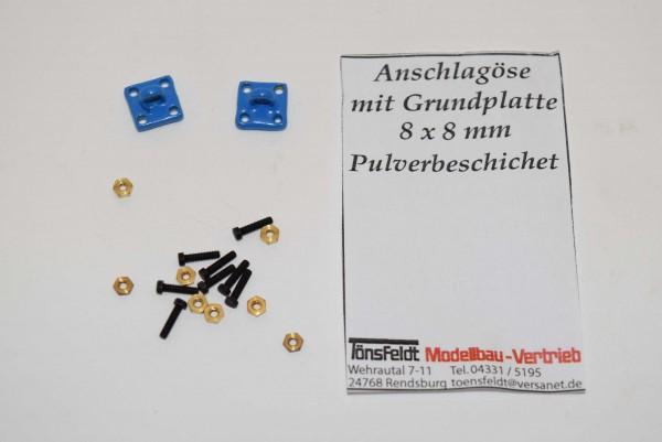 Tönsfeldt 030409 2 TMV Anschlagpunkt Grundplatte 8×8 Öse klein für Anschlaghaken, blau