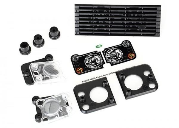 Traxxas 8013 Grill, Land Rover Defender +Halterung (3) Dach-Lichtergehäus TRX-4
